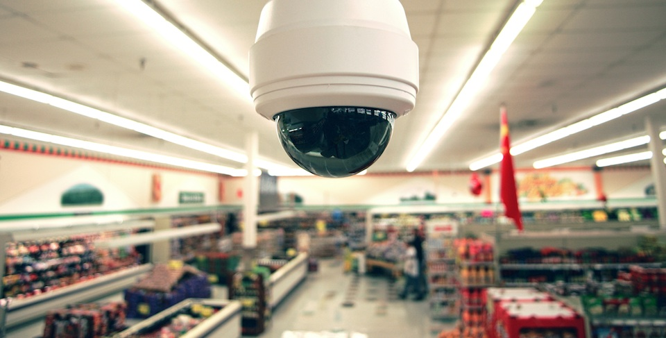 Security camera in grocery store, close-up